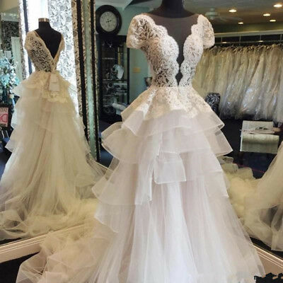 Gorgeous Low Cut A Line Wedding Dresses 2018 Summer Short Sleeves Bridal Gowns