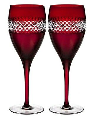 Waterford Crystal John Rocha Red Cut Red Wine Glasses SET/2 #40008457 New In Box