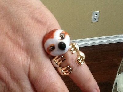 Baby Sloth Ring. 3 Piece brass, baked enamel, gold plate. hand made