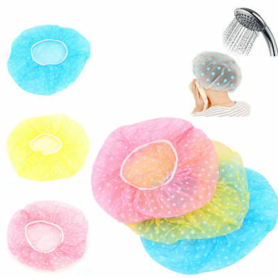 Women Lady Waterproof Elastic Plastic Dot Shower Bathing Salon Hair Cap Hat 6pcs