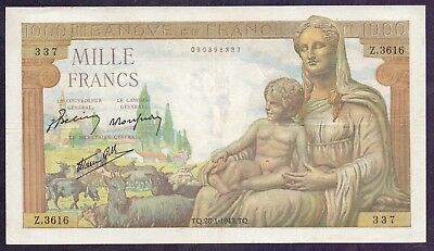 1000 Francs From France 1943  XF+ A1