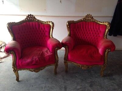 beautiful,pair,chairs,salon,wedding,chairs pink,gold,rococo,french,antique