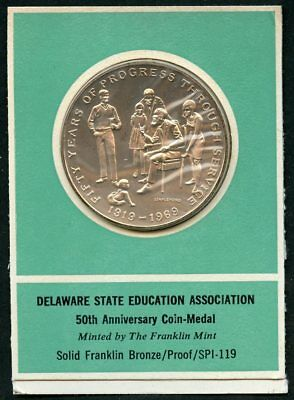 Delaware Solid Bronze Proof Medal Franklin Mint States Of The Union D2820 Exonumia