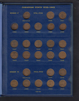 1920-64 Canada Small Cents Collection Of 47 In Album