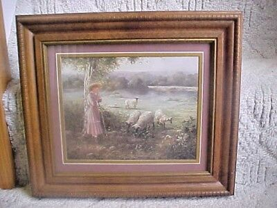 Vintage Homco Home Interiors Girl Shepherd & Sheep Framed Print Little Bo Peep