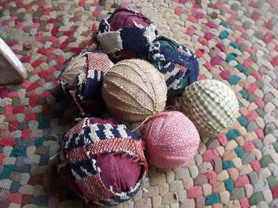 7 Old Vintage Primitive & Antique Fabric Wrapped Ball Bowl Fillers Coverlet +