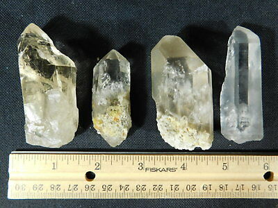 Lot of FOUR! Nice and 100% Natural Quartz Crystals Found in Brazil 234gr e