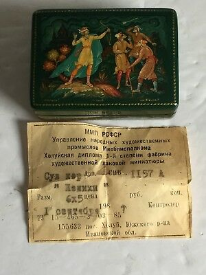 Signed USSR Russian Papier Mache Green Lacquer Hand Painted BOX with Paper