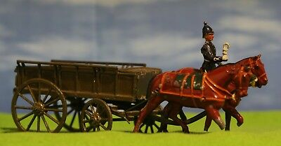 Vintage Britains - Mounted 2 Horsed General Supply Wagon - Lead Figure Set