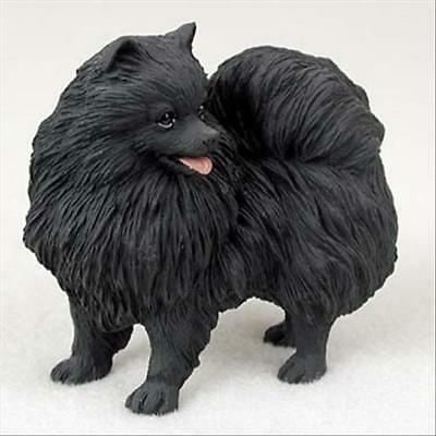 Pomeranian Black Dog Hand Painted Canine Collectable Figurine Statue