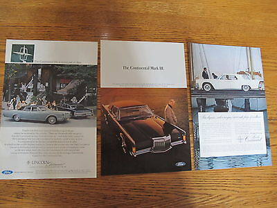 Vint.1957/68,lincoln Continental Lot Cars Print Ads Clippings