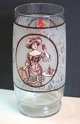 "PEPSI COLA Clear Glass Drinking Glass Victorian Lady Gibson Girl 6"" tall FREE SH"