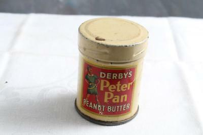 Derby's Peter Pan Peanut Butter FREE SAMPLE Tin Litho Can Vintage Grocer 2 oz