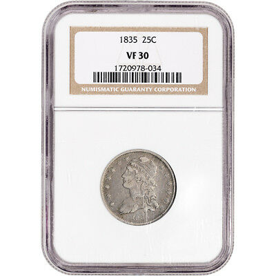 1835 US Capped Bust Silver Quarter 25C - NGC VF30