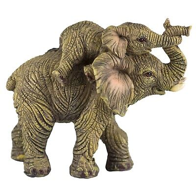 Mother and Baby Elephant Figurine Holding Trunks 3.25 Inch High New!