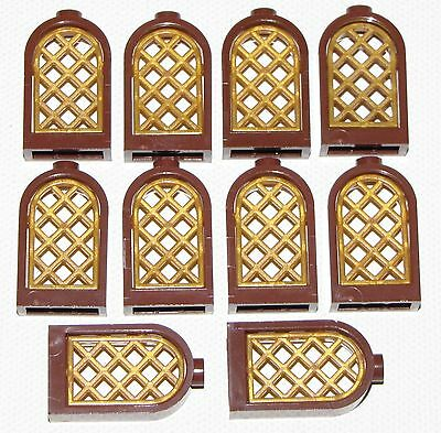 Lego Lot Of 10 New Reddish Brown Round Windows With Pearl Gold Lattice Castle