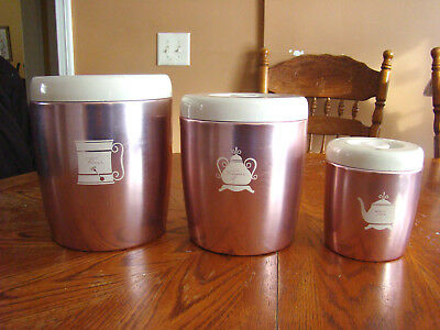 Vintage 1950s West Bend Pink Canisters with White Tops Nesting Set