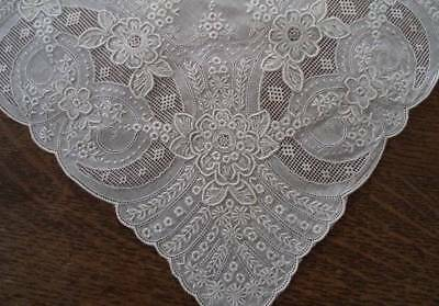 Vintage Madeira Linen Wedding Hanky Encrusted Silver Embroidery Needle Lace C