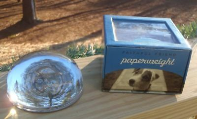 Galison NY Solid Glass Dome Faithful Friend Jack Russell Dog PAPERWEIGHT w/ Box