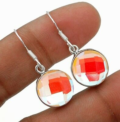 12CT Color Changing Rainbow Topaz 925 Solid Sterling Silver Earring Jewelry