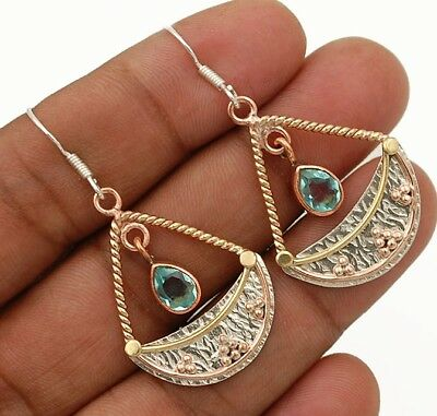 "Three Tone- Aquamarine 925 Solid Sterling Silver Earrings Jewelry 1 7/8"" Long"