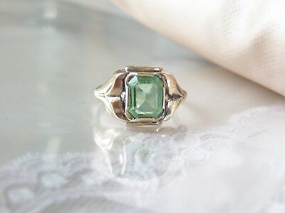 Antique Vintage Estate Sterling Silver and 10K Gold Sim Peridot Ring 5