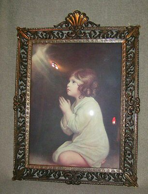 Vintage ITALY Ornate Antique Brass Metal Bubble Convex GIRL PRAYING Print Frame
