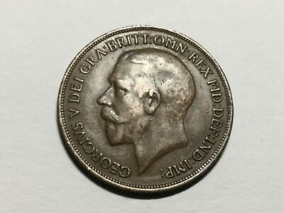 GREAT BRITAIN 1919 1 Penny coin very nice condition
