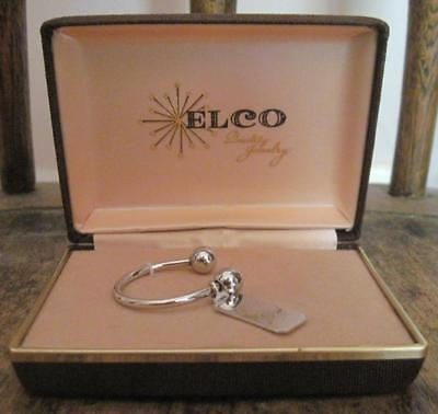 Vtg ELCO Sterling Silver Key Ring Screw On Top & Name Tag in Quality Jewelry Box