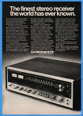 1974 Pioneer SX-1010 Stereo Receiver  Finest The World Has Known Vintage Ad