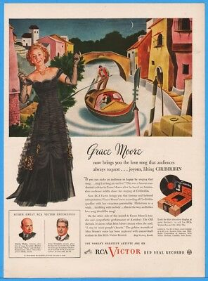 1945 RCA Victor Red Seal Records Ciribiribin By Grace Moore Print Ad Venice Art