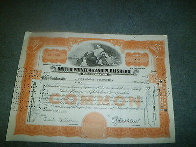 1951 United Printer's And Publishers Stock Certificate