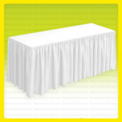 8' Fitted Table Skirt Wedding Banquet Catering Tablecloth Cover - WHITE