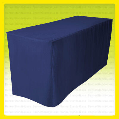 "4' Fitted Tablecloth Table Cover Wedding Banquet 24"" Width Polyester - NAVY BLUE"