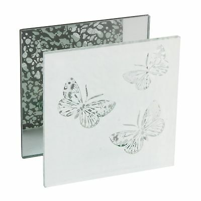 Hestia Single Square T Lite Candle Holder Glass Frame Butterfly Design