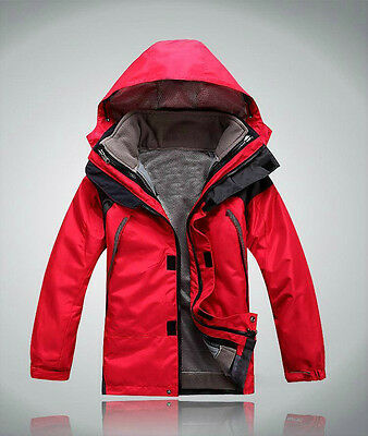 Kids Red Hiking Camping Bush Walking Waterproof Breathable Jacket S M L XL XXL