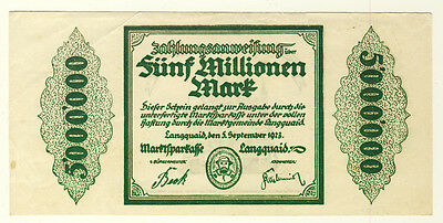 NOTGELD - Stadt LANGQUAID - 5 MILLIONEN MARK 5.9.1923 (221)