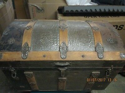 Antique Dome Top (CamelBack) Steamer Trunk Chest