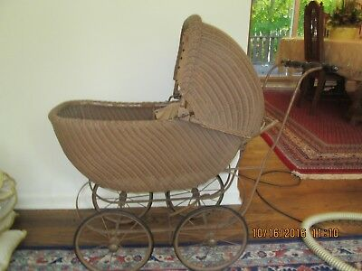 Antique  Baby Carriage Pram Stroller Wicker With Brake