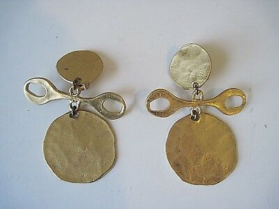 Kenneth Jay Lane Satin Gold Tone Large Hammered Tribal Earrings Clip On