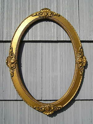 Antique Oval Eastlake Victorian Ornate Gold Curved Glass Picture Frame 13 3/4~20