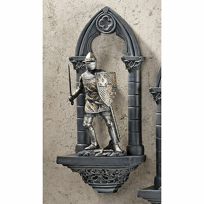 Gothic Medieval Ready For Battle Knight On Guard Wall Sculpture Statue NEW