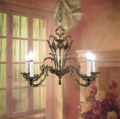 Antique Vintage Bronze Chandelier 5 Lt French Style Ornate Elegant