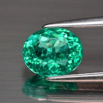 1.22ct 7.4x6mm Oval Natural Paraiba-Color Neon Green Blue Apatite
