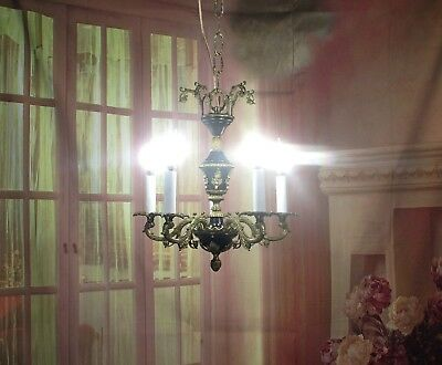 Antique Vintage Chandelier Bronze French Empire Petite 5 Light Restored Rare