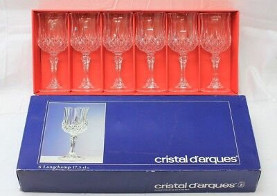 (6) NEW Cristal D'Arques France Longchamps Lead Crystal Water Stems/Goblets