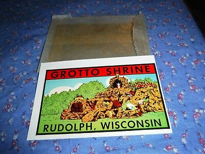 nb.  NOS Vintage Dip Decal Grotto Shrine Rudolph, Wisconsin