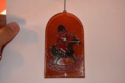 Very Rare Antique German Cel-Style Plastic Stained Glass Christmas Ornament