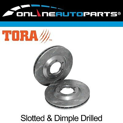2 Slotted + Dimpled Front Disc Brake Rotors Rodeo RA 03~08 RWD 2x4 4wd 4X4 Ute