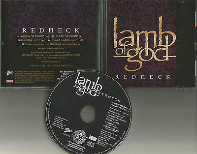 LAMB OF GOD Redneck w/ 2 RARE LIVE TRX & CLEAN  PROMO DJ CD single 2006 MINT USA